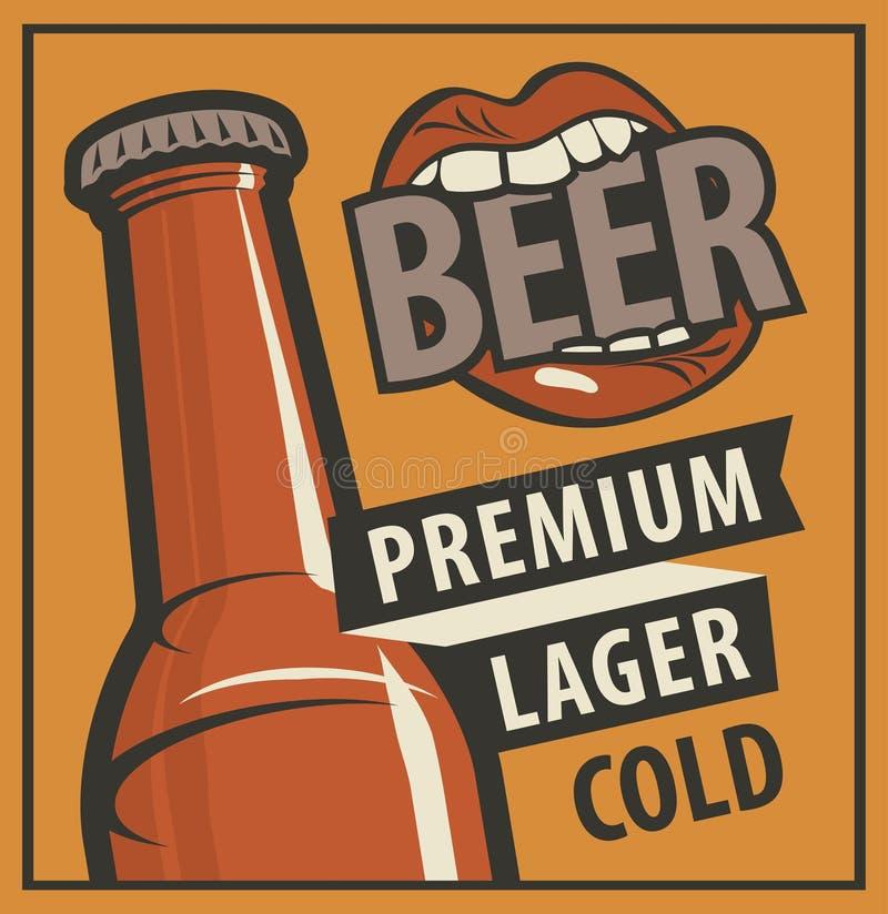 Vectorbanner met woordenbier, premie, lagerbier, koude Vlakke illustratie in retro stijl met fles bier en een mond die bijten vector illustratie
