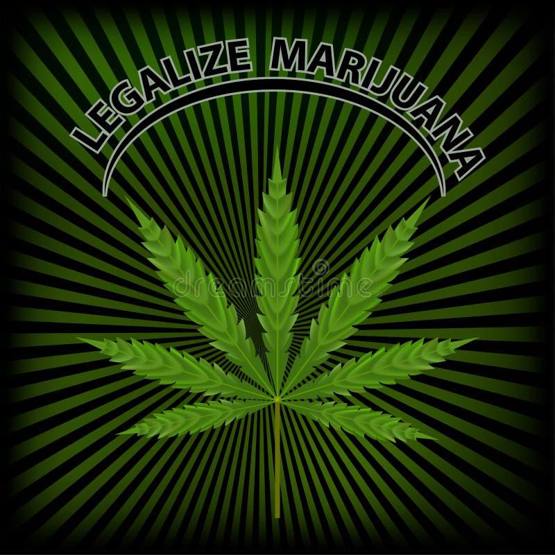 Vectorbanner van marihuanalegalisatie Een blad van marihuana op green royalty-vrije illustratie