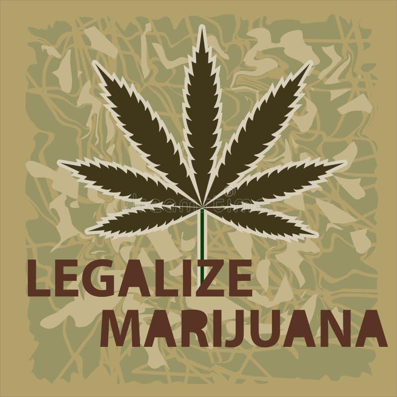 Vectorbanner van marihuanalegalisatie Een blad van marihuana op green stock illustratie
