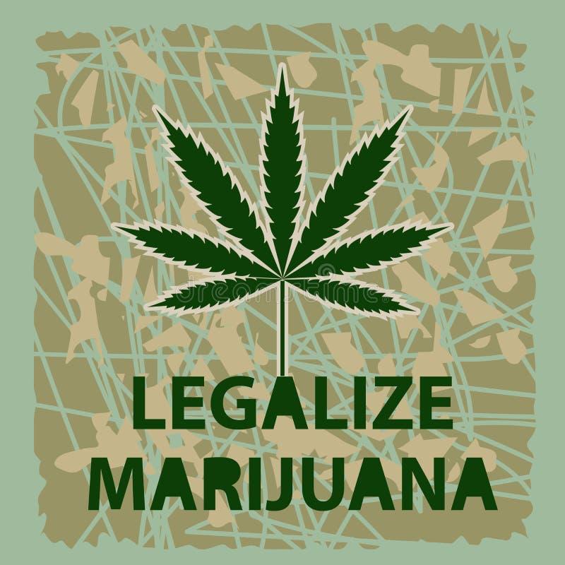Vectorbanner van marihuanalegalisatie Een blad van marihuana op green vector illustratie