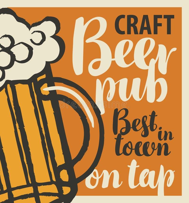 Vectorbanner voor de beste bierbar in stad met ambachtbier op kraan Illustratie met inschrijvingen en een volledig glas schuimend vector illustratie