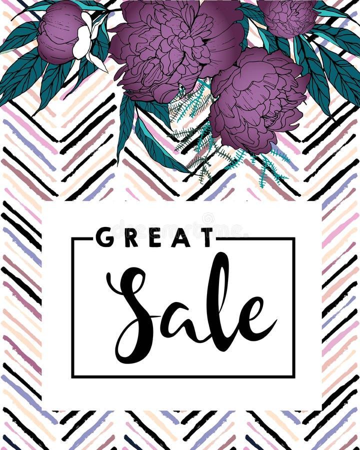 Vectorbanner voor grote verkoop Purpere pioenen en vlek van de chevron de moderne borstel in in pastelkleuren stock illustratie