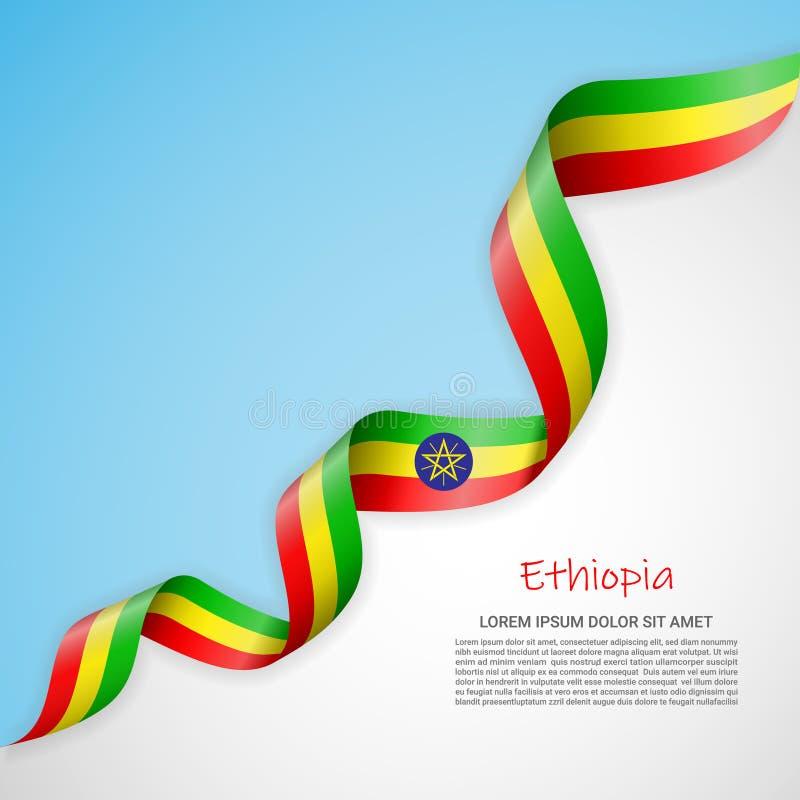 Vectorbanner in witte en blauwe kleuren en golvend lint met vlag van Ethiopië Malplaatje voor afficheontwerp, brochures stock illustratie