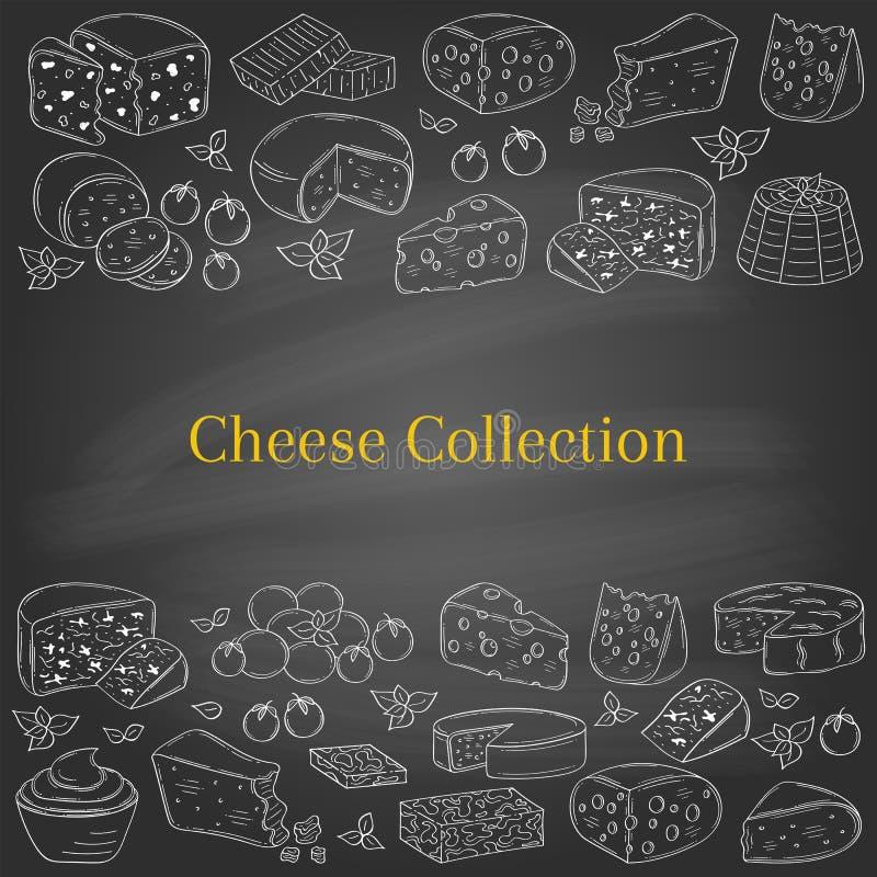 Vectorbannermalplaatje met verschillende types van kaas, hand getrokken illustratie stock illustratie