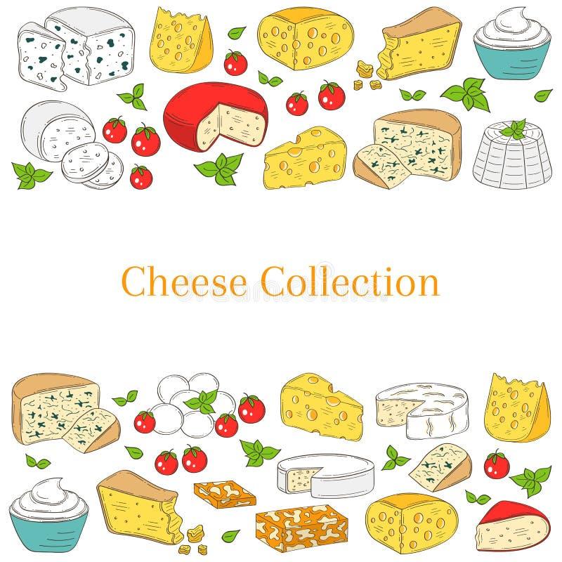 Vectorbannermalplaatje met verschillende types van kaas, hand getrokken illustratie royalty-vrije illustratie