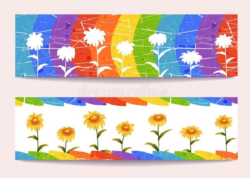 Vectorbanners met bloemen op regenboogachtergrond vector illustratie