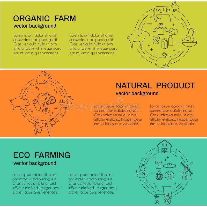 Vectorbanners met landbouw en ecoproducten royalty-vrije illustratie
