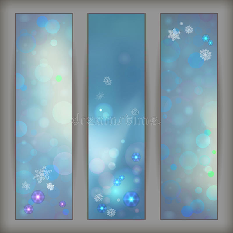 Vectorbanners van Kerstmis de Abstracte Bokeh stock illustratie