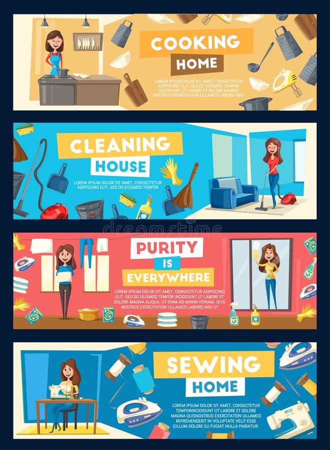 Vectorbanners voor huis het schoonmaken en het koken