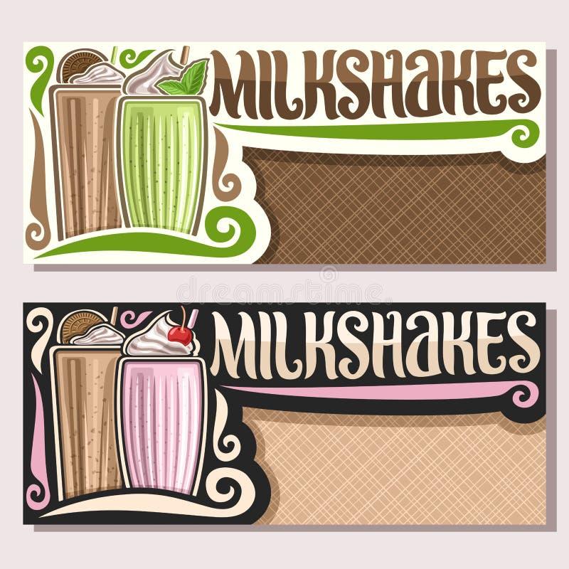 Vectorbanners voor Milkshaken stock illustratie