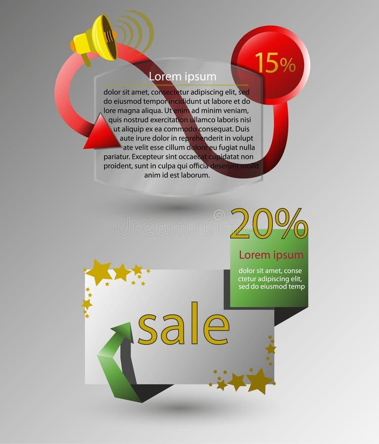 Vectorbanners voor ontwerp, winkel, verkoop, kortingen stock illustratie