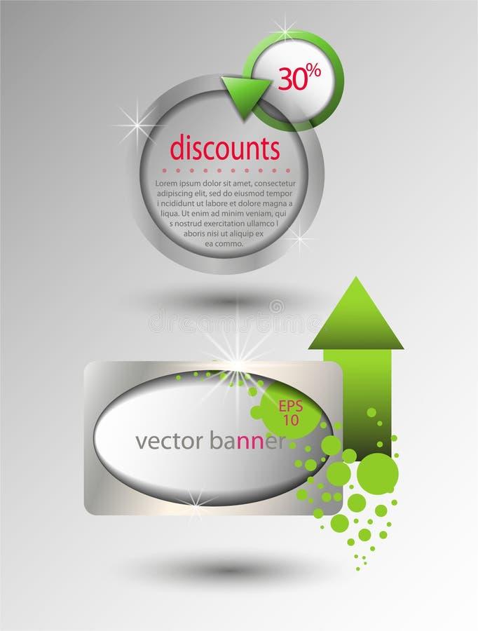 Vectorbanners voor ontwerp, winkel, verkoop, kortingen royalty-vrije illustratie