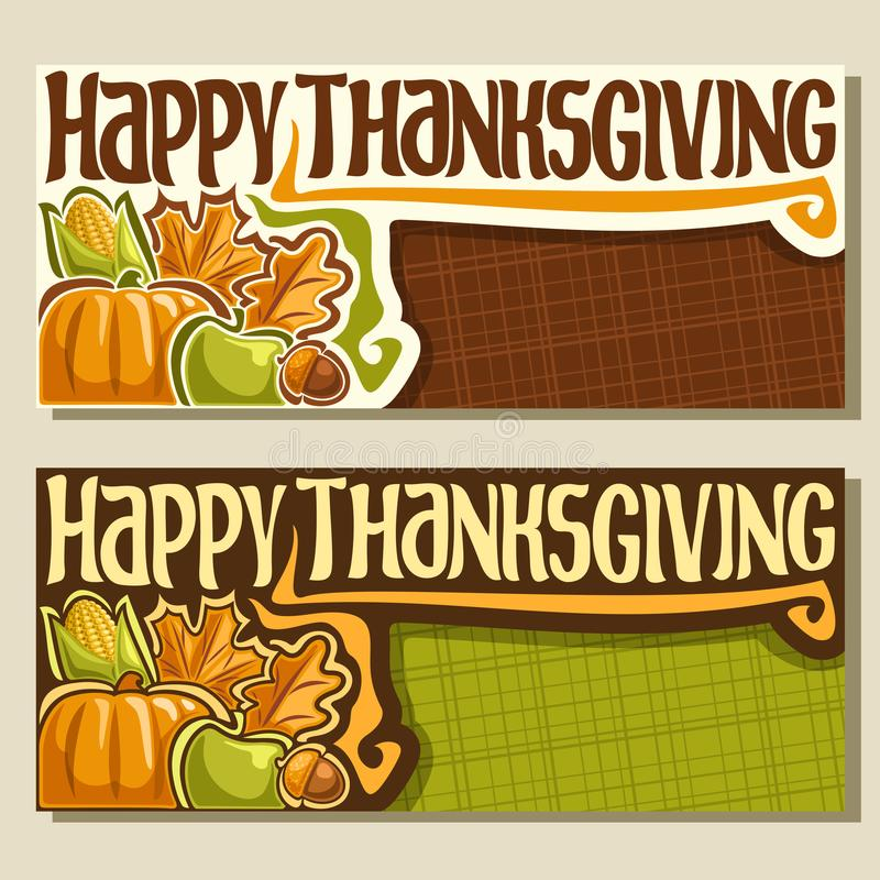 Vectorbanners voor Thanksgiving day vector illustratie
