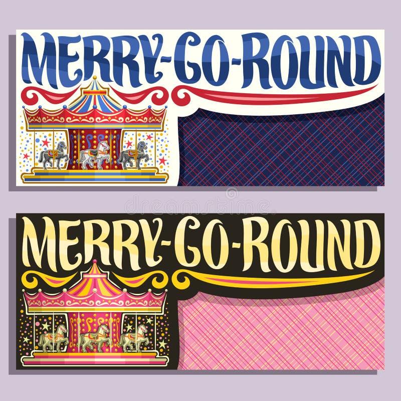 Vectorbanners voor vrolijk-gaan-Ronde Carrousel royalty-vrije illustratie