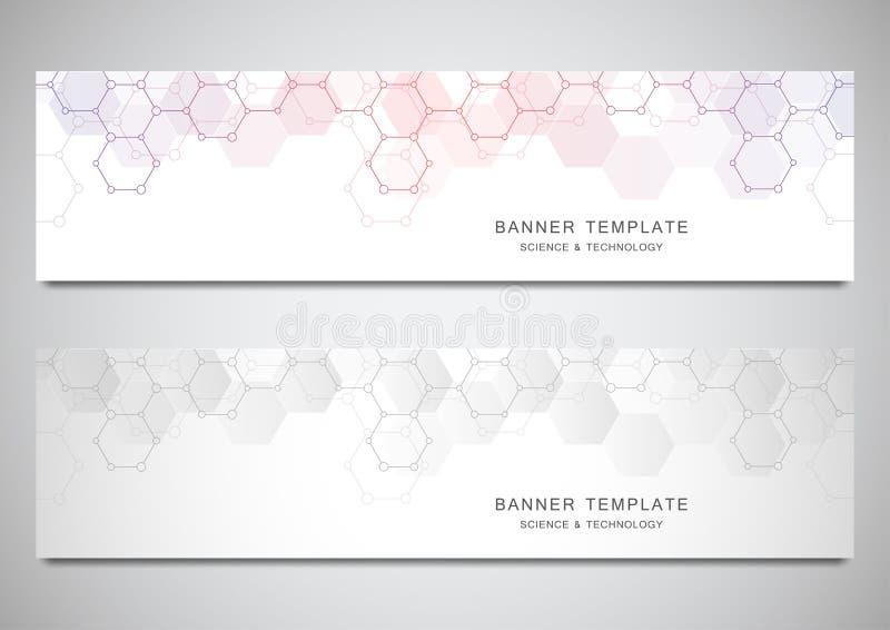 Vectorbanners voor wetenschap en digitale technologie Geometrische abstracte achtergrond met zeshoekenontwerp moleculair royalty-vrije illustratie