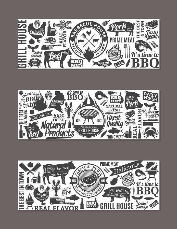 Vectorbarbecue, grill en steakhouse banners vector illustratie