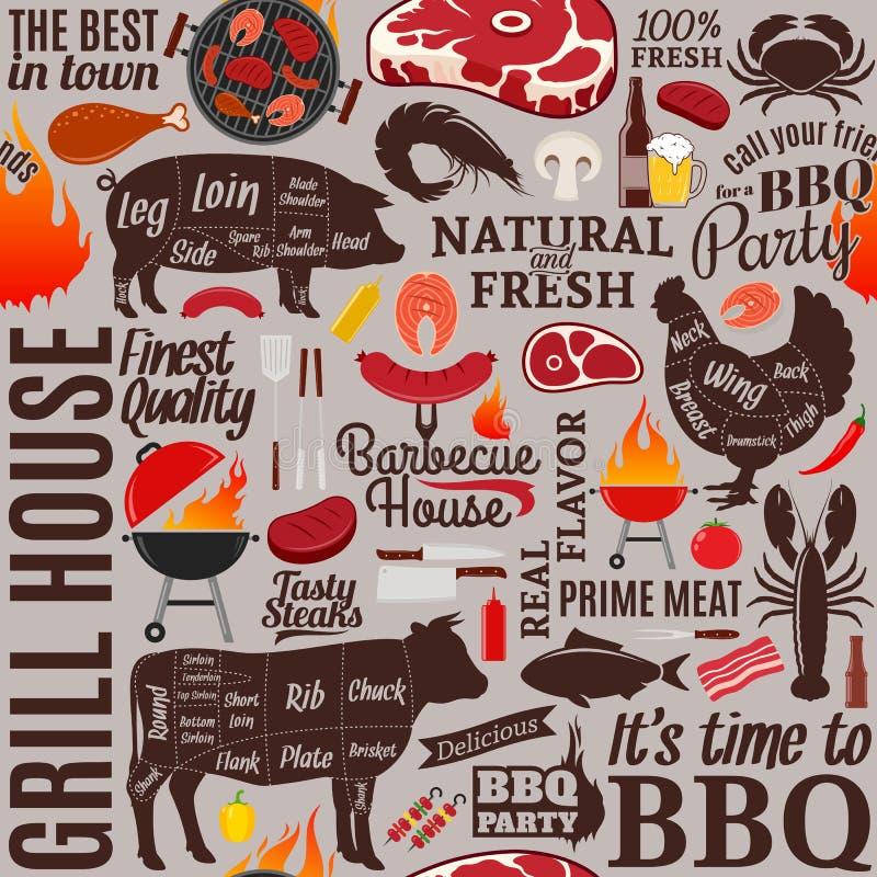 Vectorbarbecue naadloze patroon of achtergrond vector illustratie