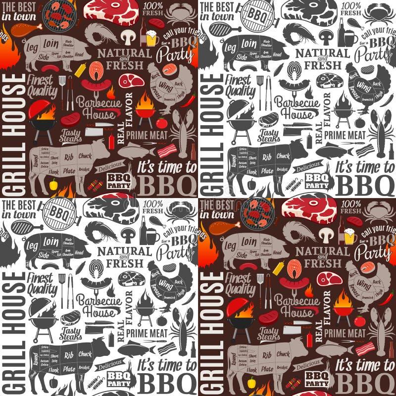 Vectorbarbecue naadloze patroon of achtergrond royalty-vrije illustratie