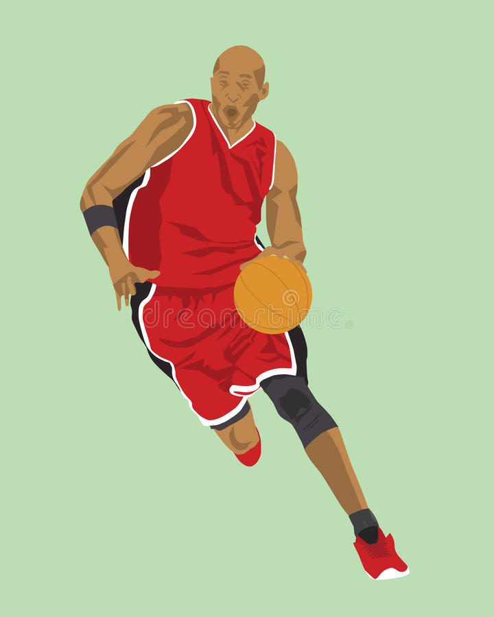 Vectorbasketbalspeler stock afbeelding