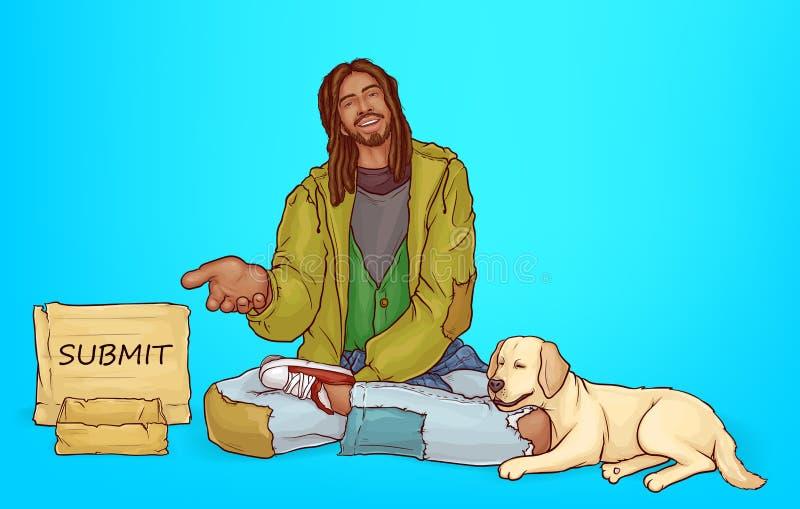 Vectorbedelaar, slechte Afrikaanse bedelaar met hond vector illustratie