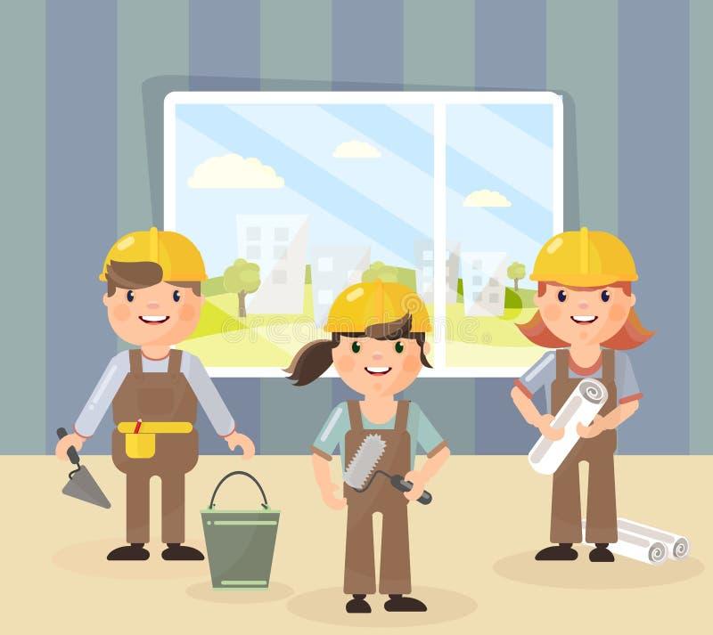 Vectorbeeld in de stijl van de vlakte Reparatie en een team van herstellers in helmen, gaan zij reparaties en bouw doen stock illustratie