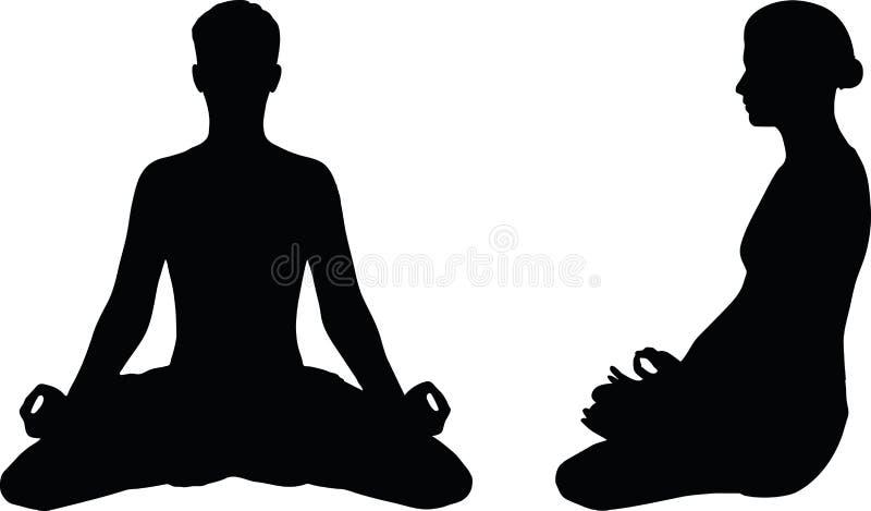 Vectorbeeld - de Yoga stelt geïsoleerd op witte achtergrond vector illustratie