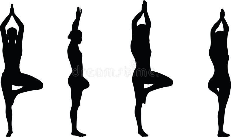 Vectorbeeld - de Yoga stelt geïsoleerd op witte achtergrond stock illustratie