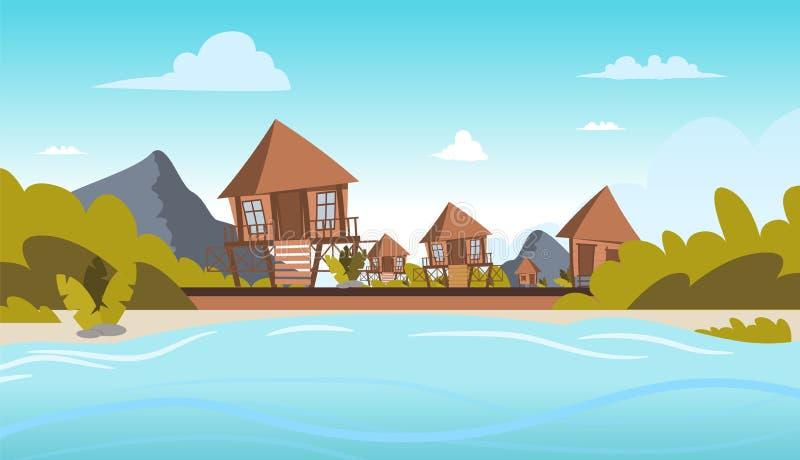Vectorbeeld een dorp op de kust van een lagune stock illustratie