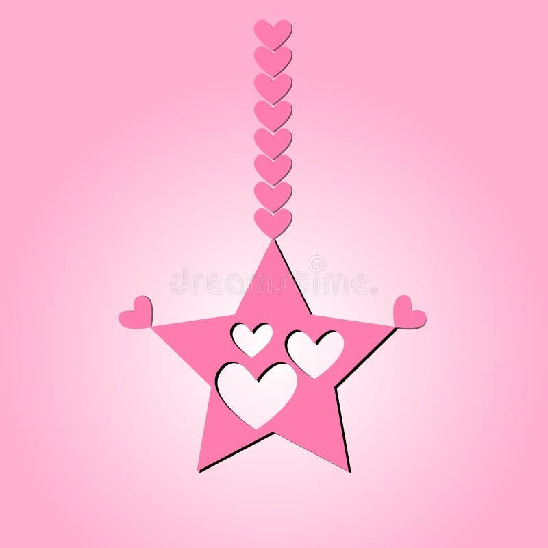 Vectorbeeld een ster van roze kleur met knipsels in de vorm van harten die op een kabel van harten op een gradiëntachtergrond han stock illustratie