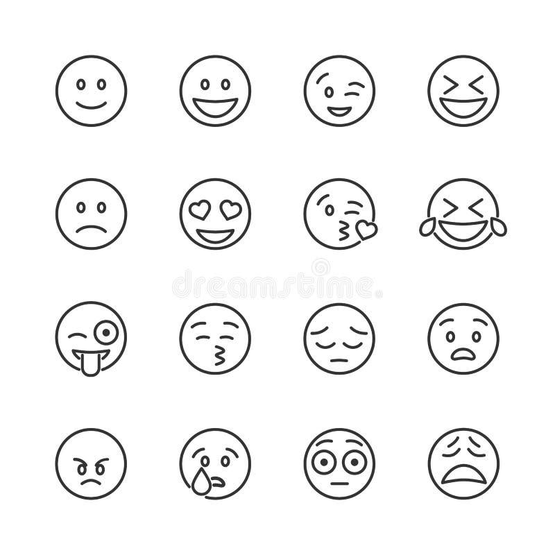Vectorbeeld geplaatst emoticons lijnpictogrammen royalty-vrije stock afbeelding