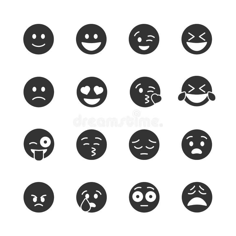 Vectorbeeld geplaatst emoticons pictogrammen stock foto