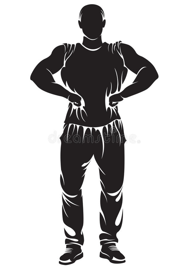 Vectorbeeld met bodybuilder vector illustratie