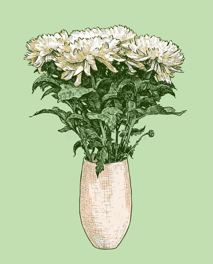 Vectorbeeld van boeket van chrysanten in een vaas vector illustratie