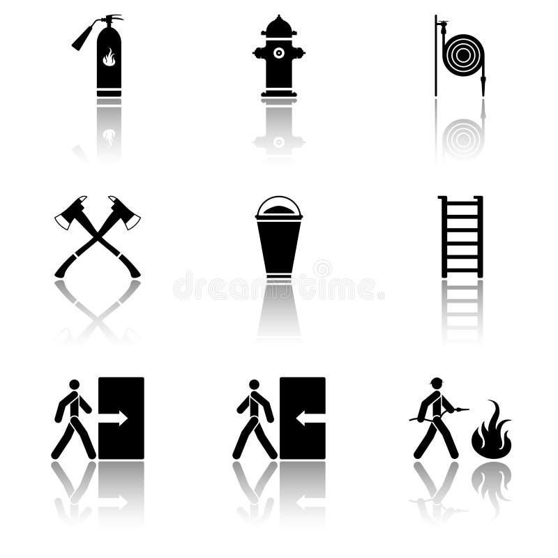 Vectorbeeld van brandbluspictogrammen - brandblusapparaat, brandkraan, brandslang, bijl, zand, trap met spiegelbeeld vlak royalty-vrije illustratie