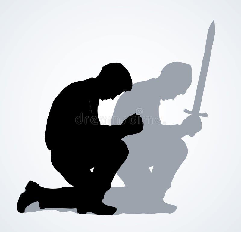 Vectorbeeld van de biddende persoon vector illustratie