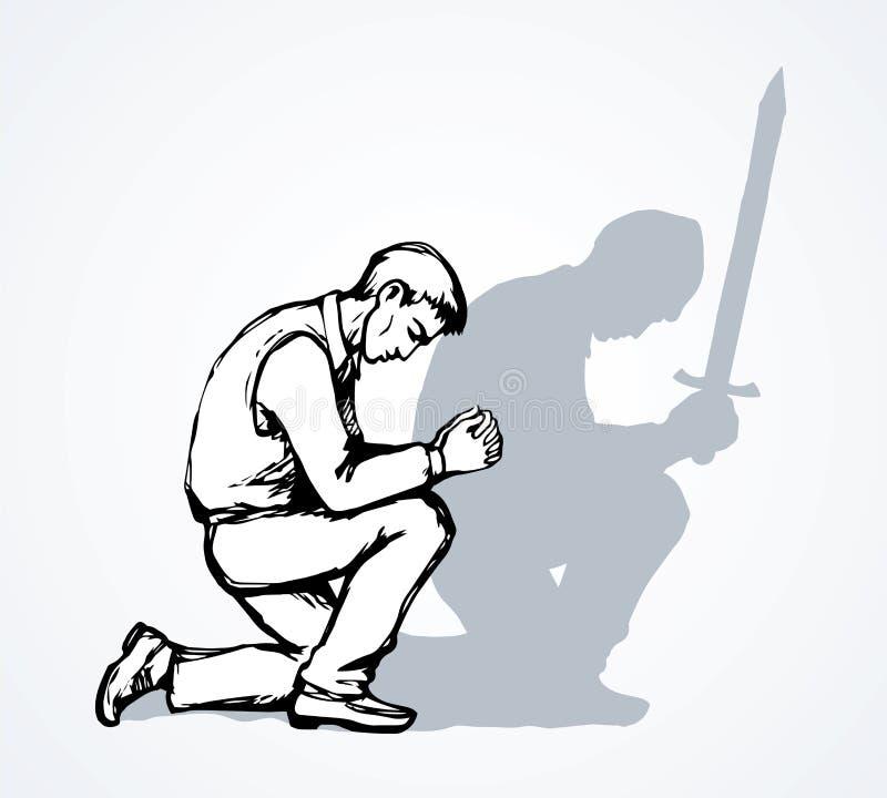 Vectorbeeld van de biddende persoon stock illustratie