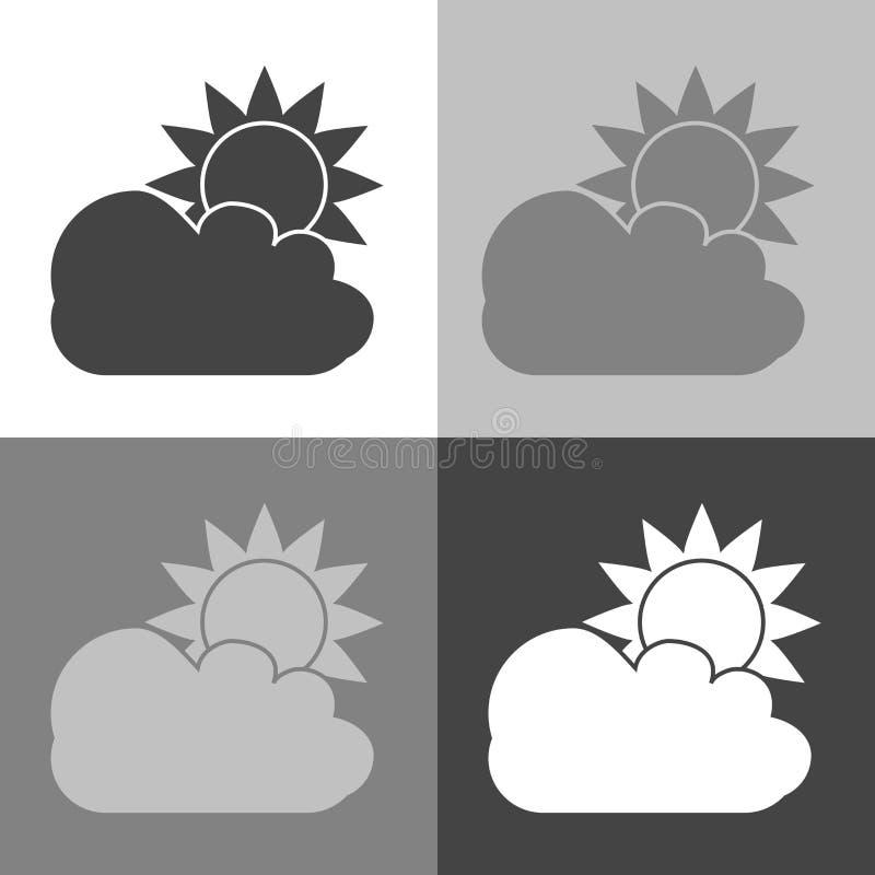 Vectorbeeld van de zon achter een wolk Donker Zonnig weer stock illustratie
