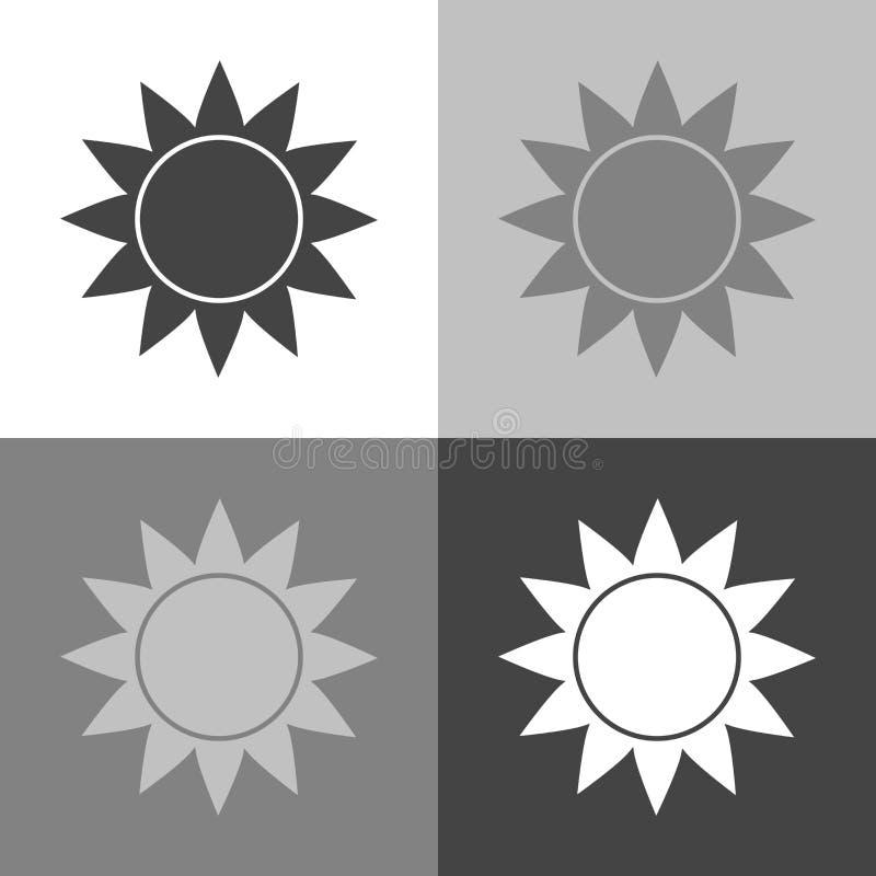 Vectorbeeld van de zon zonnig weer Vectorweervoorspelling stock illustratie
