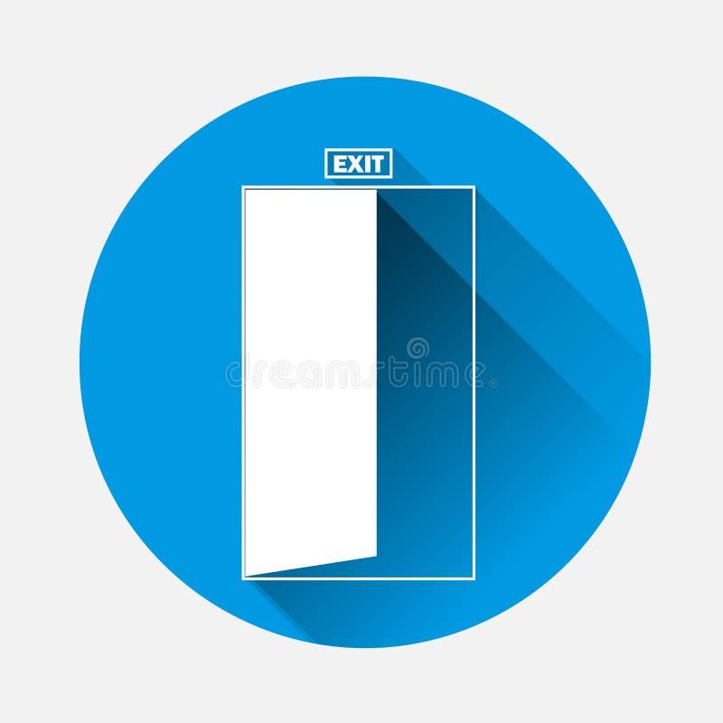 Vectorbeeld van een deur met een inschrijvingsuitgang op blauwe backgro royalty-vrije illustratie