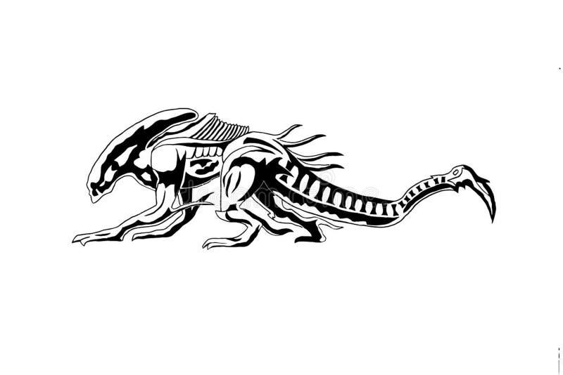 Vectorbeeld van een fantastisch dier Concept: xenomorph, beeld voor het project en ontwerp royalty-vrije stock afbeelding