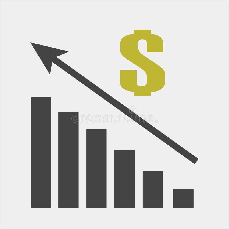 Vectorbeeld van een grafiek van de financiële groei Financiën die ico opheffen royalty-vrije illustratie
