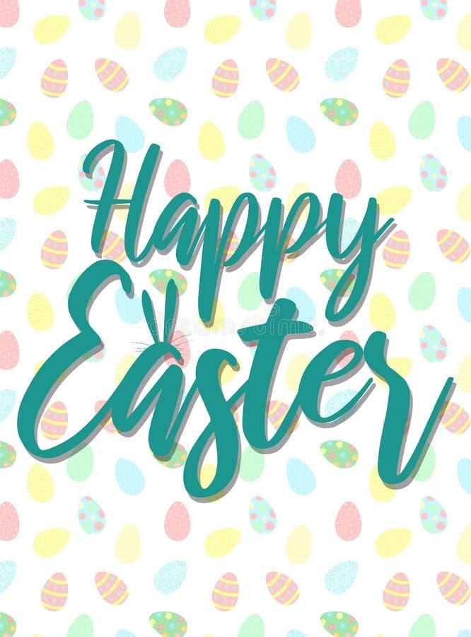 Vectorbeeld van een inschrijving met konijntjesoren op de kleurrijke eierenachtergrond Hand-drawn Pasen-illustratie voor de lente royalty-vrije illustratie