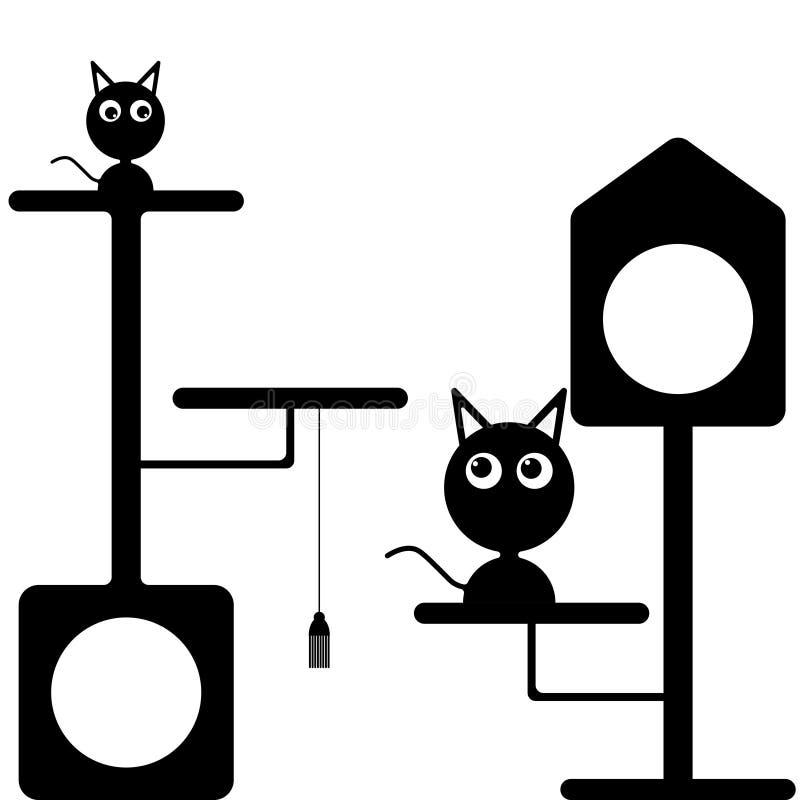Vectorbeeld van een katje en een kat dichtbij de kattenhuizen Vlak zwart-wit patroon stock illustratie