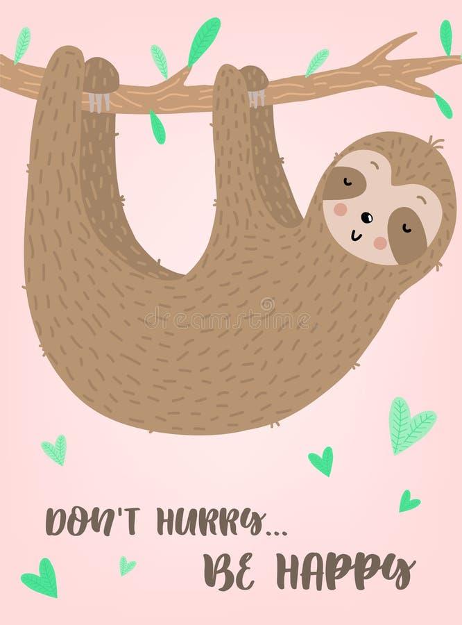 Vectorbeeld van een leuke grappige luiaard op de tak met harten Hand-drawn beeldverhaalillustratie voor kind, de tropische zomer, stock illustratie