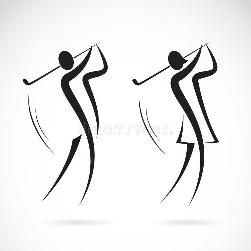Vectorbeeld van een mannelijk en vrouwelijk golfspelersontwerp stock illustratie