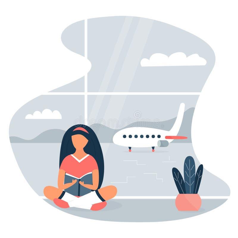 Vectorbeeld van een meisjeszitting bij de luchthaven en lezing een boek stock illustratie