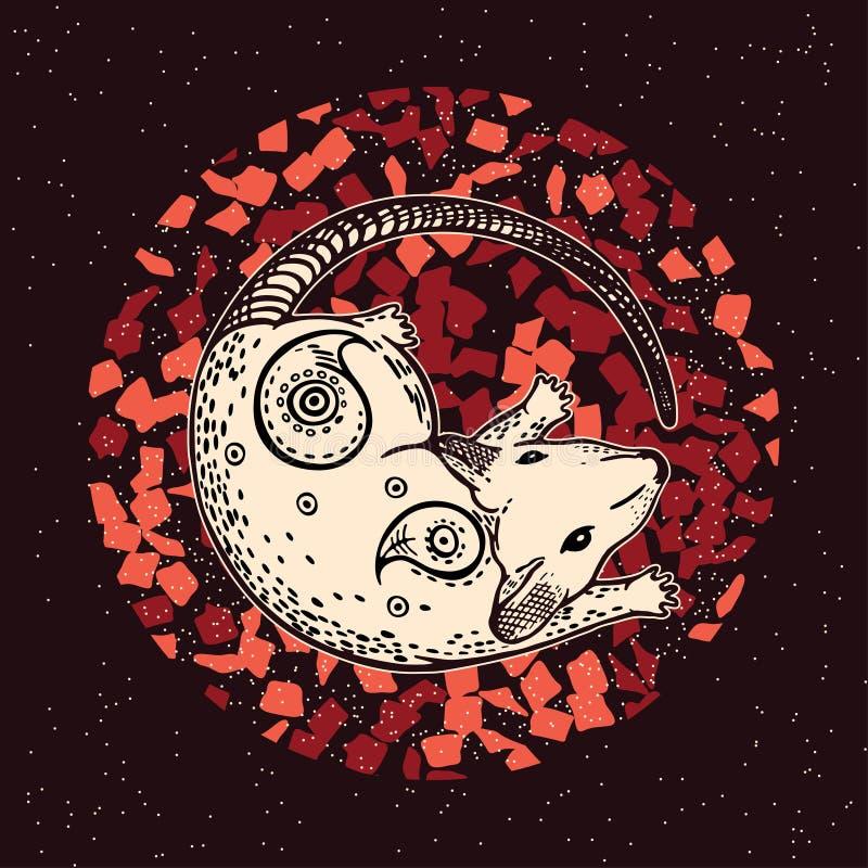 Vectorbeeld van een rat Het symbool van 2020 royalty-vrije illustratie