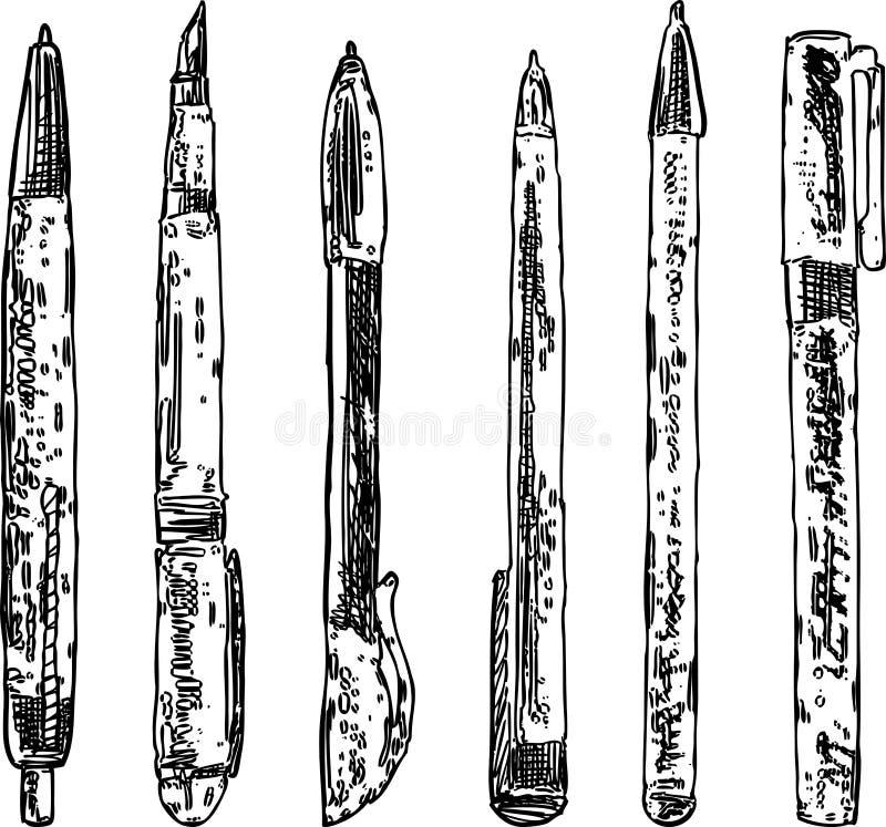 Vectorbeeld van een reeks diverse pennen stock illustratie