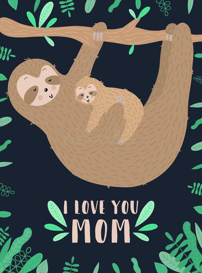 Vectorbeeld van een slaperige baby van luiaardomhelzingen in de nacht Hand-drawn beeldverhaalillustratie voor kind, de tropische  stock afbeelding