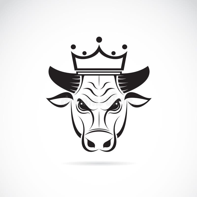 Vectorbeeld van een stierenhoofd die een kroon dragen royalty-vrije illustratie
